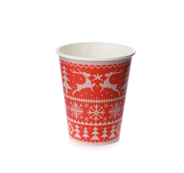 Čaša papirnata 300 ml d=90mm 1-slojna Zimski uzorci (50 kom/pak)