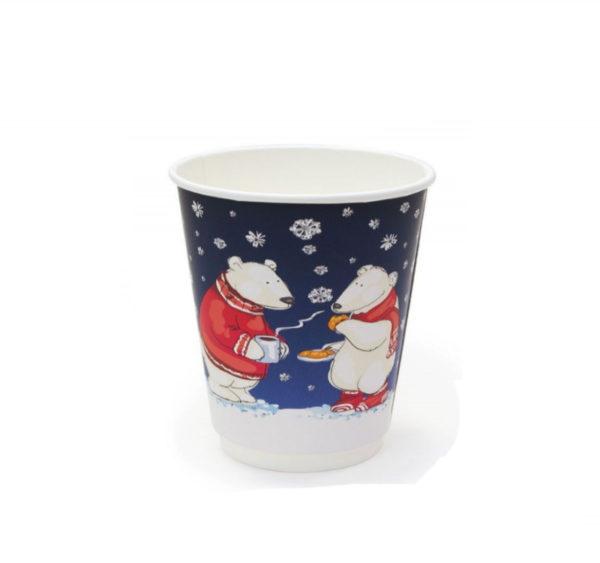 Čaša papirnata 250 ml d=80 mm 2-slojni soft touch Bijeli medvjedi (25 kom/pak)