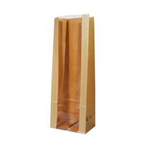 Papirnata vrećica s prozorom pravokutno dno 120(80)x80x300 mm kraft (600 kom/pak)