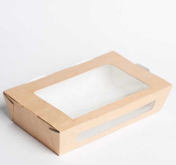 Papirnata posuda s prozorom ECO SALAD 600 ml 150x115x50mm kraft (500 kom/pak)