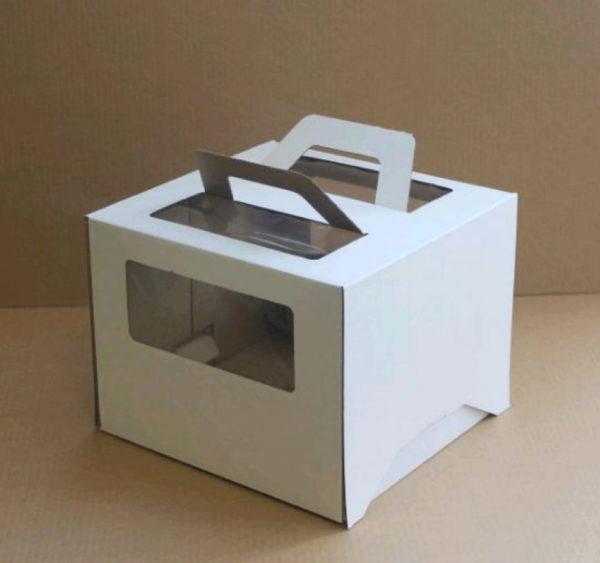 Kutija s prozorom, s ručkama 260x260x200 mm mikrovaloviti karton bijela (25 kom/pak)