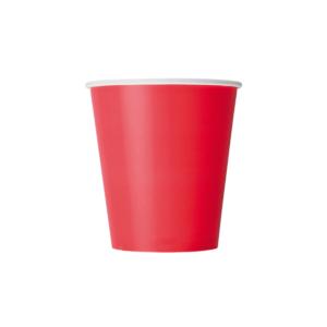 Čaša papirnata 250 ml d=80 mm 1-slojna crveni (50 kom/pak)