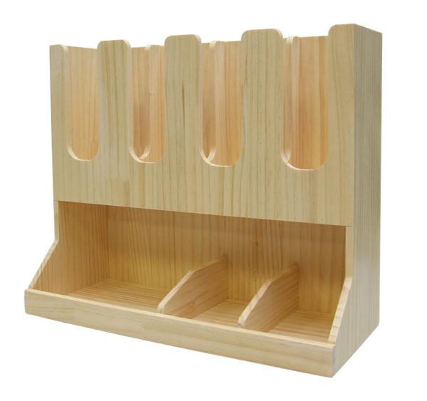 Stojalo za čaše 3 odeljka i 6 odeljaka za dodaci drveni (AA28-Wo)