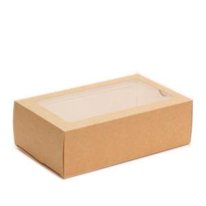 """Posuda papirnata  s prozorom za deserte """"Makaroni"""" 180x110x55 mm kraft (300 kom/pak)"""