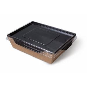 Papirnata posuda s prozirnim poklopcem ECO OpSalad 500 ml 160x120x45 mm Black Edition (300 kom/pak)