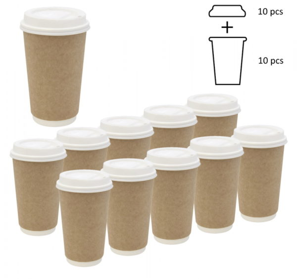 Komplet: čaša papirnata 400 ml d=90 mm 2-slojni kraft sa poklopcem, 10 kom