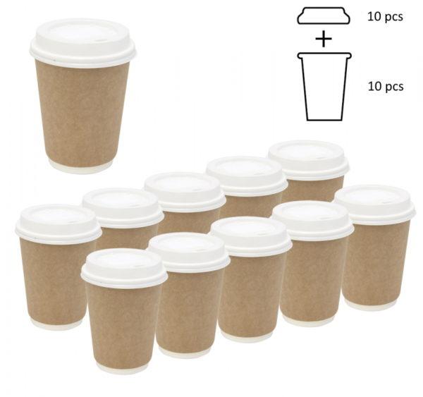 Komplet: čaša papirnata 300 ml d=90 mm 2-slojni kraft sa poklopcem, 10 kom