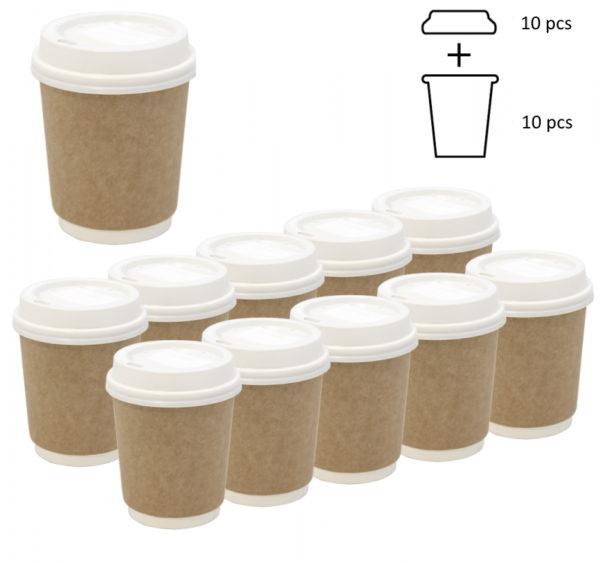 Komplet: čaša papirnata 250 ml d=80 mm 2-slojni kraft sa poklopcem, 10 kom