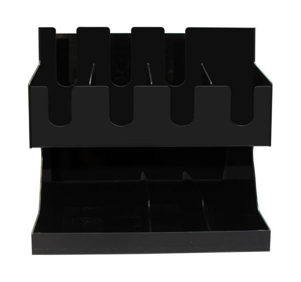 Stojalo za čaše 3 odeljka i 8 odeljaka za dodaci plasticni crni (AA18-B)
