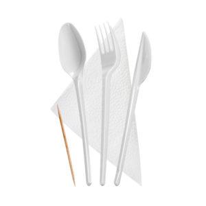 "Komplet ""5 bijeli"" vilica, nož, žlica, čačkalica, salveta (300 kom/pak)"