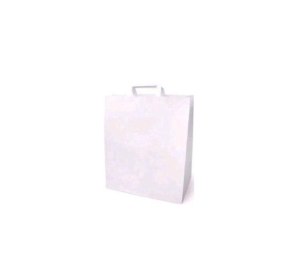 Papirnata vrećica sa ravnom ručkom 320x200x370 mm bijela (200 kom/pak)