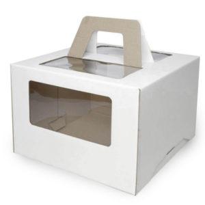 Kutija s prozorom, s ručkama 240x240x200 mm mikrovaloviti karton bijela (25 kom/pak)