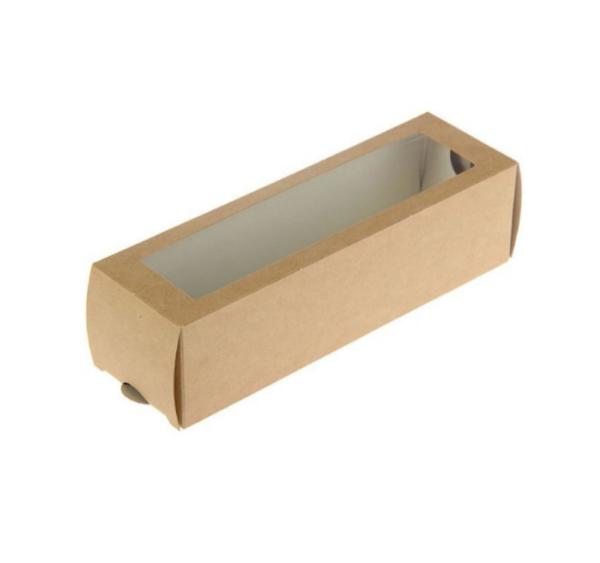 """Papirnata posuda s prozorom za deserte """"Makaron"""" 180x55x55 mm kraft (500 kom/pak)"""