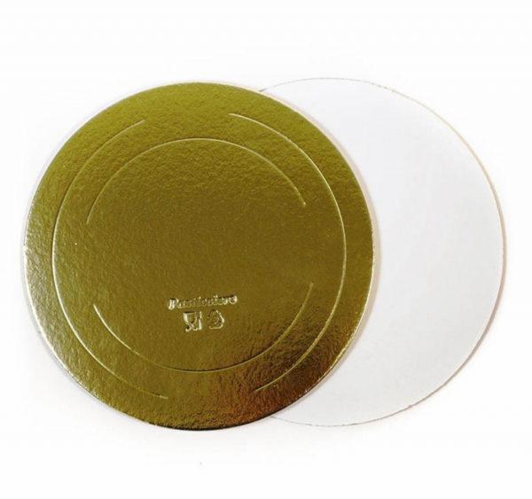Podmetač krug za torte karton d = 260mm zlato / biser ojačana 3,2 mm (10 kom/pak)
