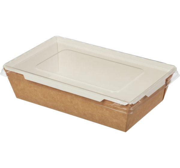 Papirnata posuda s poklopcem Crystal Box 800 ml 207x127x55 mm kraft (200 kom/pak)