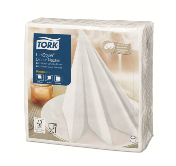 Salvete za večeru Tork Premium Linstyle® 39×39 cm, 50 kom/pak, bijele (12 kom/pak)
