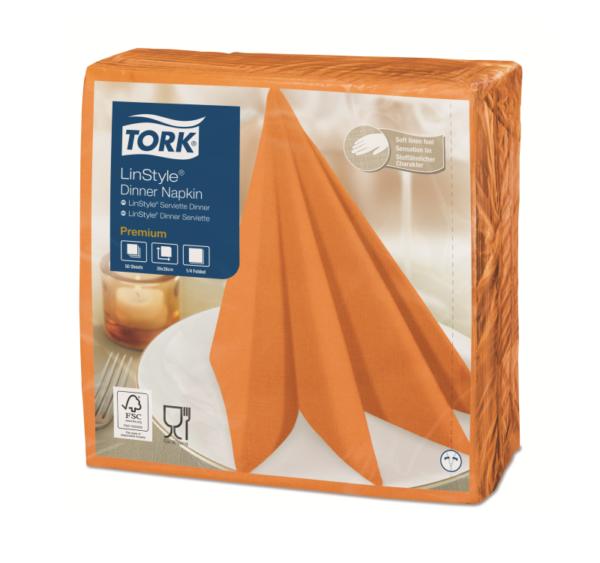 Salvete za večeru Tork Premium Linstyle® 39×39 cm, 50 l/pak, narančasta