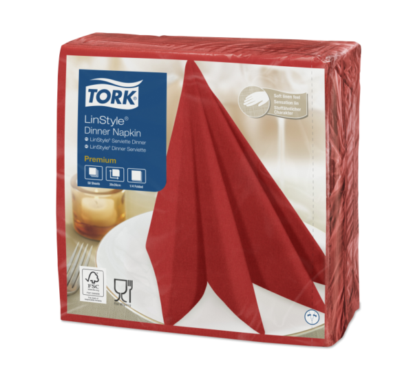 Salvete za večeru Tork Premium Linstyle® 39×39 cm, 50 kom/pak, crvene