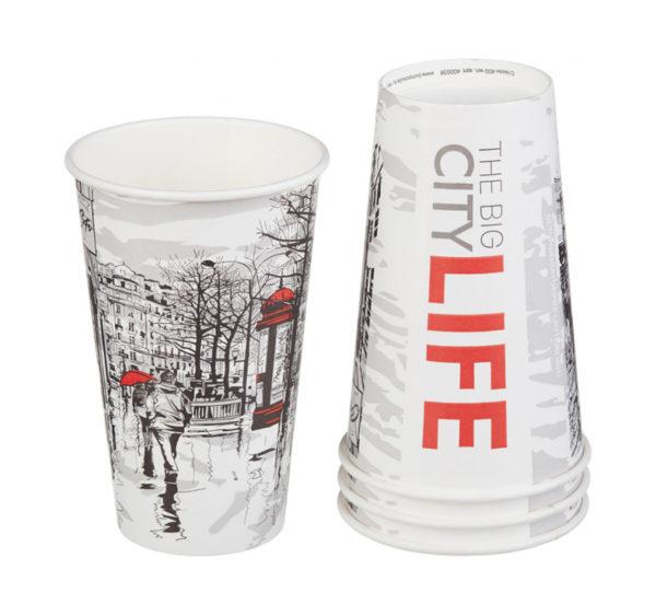 Čaša papirnata 400 ml d=90 mm 1-slojna Big City Life (50 kom/pak)