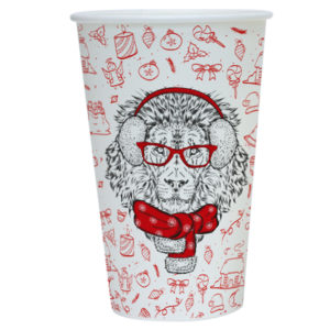 Čaša papirnata 400 ml d=90 mm 1-slojna Happy New Year Lion (50 kom/pak)