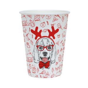 Čaša papirnata 300 ml d=90 mm 1-slojna Happy New Year Dog (40 kom/pak)