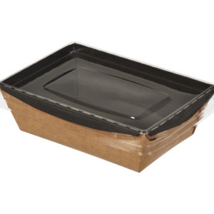 Papirnata posuda s pocklopcem Crystal Box 400 ml 145x95x45 mm, crna/kraft z ravnim dnom (450 kom/pak)