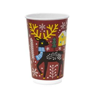 Čaša papirnata 400 ml d=90 mm 2-slojna Zimska priča (18 kom/pak)